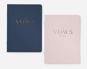 Wedding Vow Books, Set of 2, Personalized Gold Foil Vow Books, Our Vows, His Her Vow Book, His and Her Vow Books, Boho Vow Books, Simple Vow