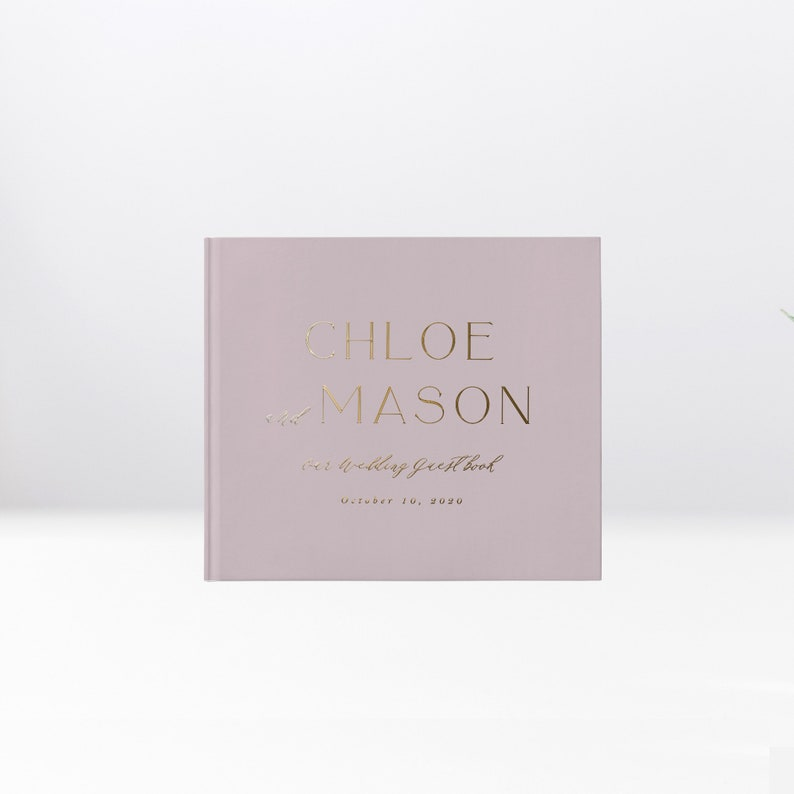 Wedding Guest Book Simple and Chic Design Gold Foil and image 0