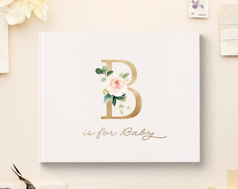 Baby Shower Guest Book, Baby Book, Family & Friends Messages, Gold Foil Baby Guest Book, Gold Baby Shower Decorations, Baby Shower Memories