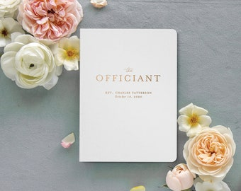 Personalized Wedding Officiant Book, Officiant Gift, Officiant Vow Book, White Wedding Notebook, Gold Foil, 5.25 x 8.25 inches