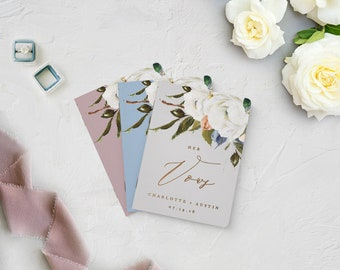 Wedding Vow Books, Floral Vow Books for Wedding, Vows Notebook for Wedding, His and Her Set Vow Books, Vow Books, Gold Foil Vow Books, Set