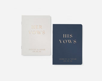 Wedding Vow Books, Gold Foil Press on White Vow Book, Personalized Wedding Vow Books, Calligraphy Vow Books, White Notebook, Foil Vow Books