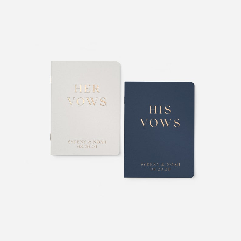 Wedding Vow Books Gold Foil Press on White Vow Book image 0