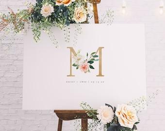 Monogram Canvas Guest Book, Elegant Gold and Blush Initial Wedding Guest Book, Alternative Wedding Guest Book, Custom Guest Book