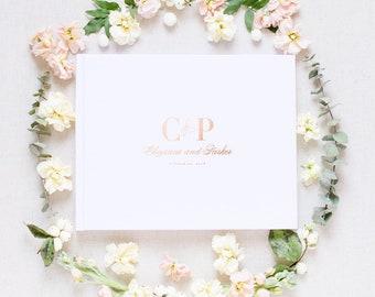 Monogram Wedding Guest Book, Goil Foil Wedding Guest Book, Personalized Guest Book for Wedding, Wedding Guest Book, Hardcover Wedding Book