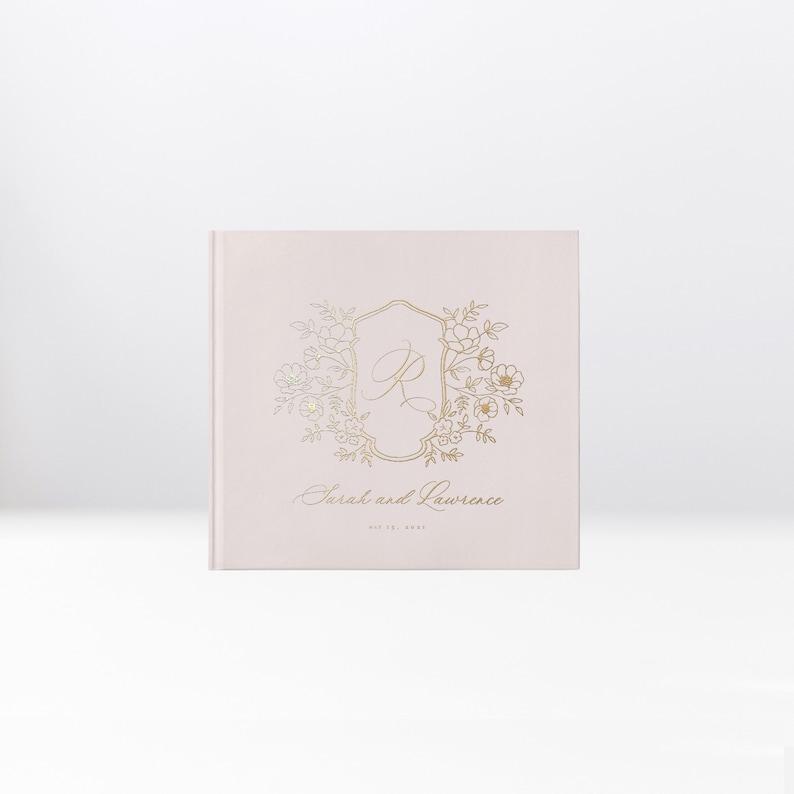 Wedding Guest Book Real Gold Foil Hardcover Landscape image 0