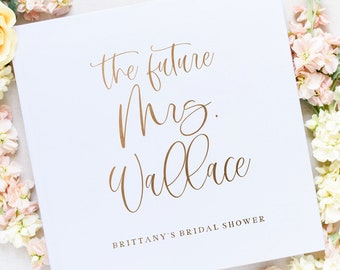 Bridal Shower Wedding Guest Book, Future Mrs. Guest Book, Shower Guest Books, Gold Foil, Personalized Names Hardcover, Custom Personalized