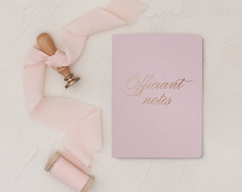 Wedding Officiant Book, Officiant Gift, Officiant Vow Book, White Wedding Notebook, Gold Foil, 5.25 x 8.25 inches