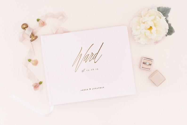 Silver Foil Wedding Guest Book Wedding Guestbook Custom Guest image 0