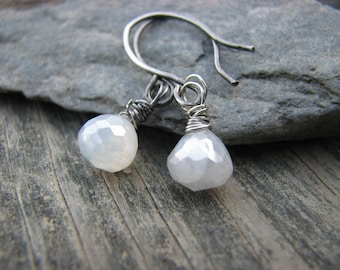 Shimmer Earrings Mystic Pearl Chalcedony Oxidized Sterling Silver Wire Wrapped Fresh White Black Spring