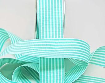 BULK Striped Grosgrain Ribbon 15 yards -- 1.5 inches -- Robins Egg Blue White