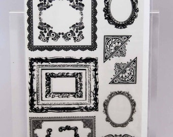 KaiserCraft Black Rub Ons -- Timeless Frames -- Ornate Victorian Steampunk Shabby Chic