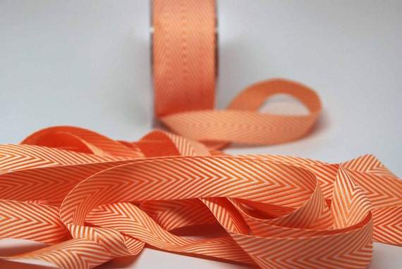 1//4 inch Twill Ribbon w// Chevron Stripes orange color price for 3 yards