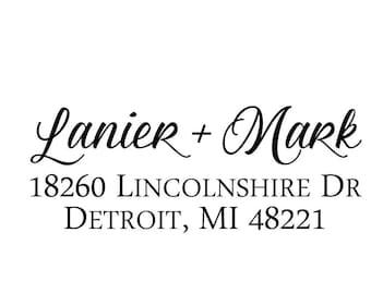 Address Stamp, Return Address Stamp, Custom Address Stamp, Personalized Stamp, Self inking Stamp, Wedding Stamp, Calligraphy Stamp 20566