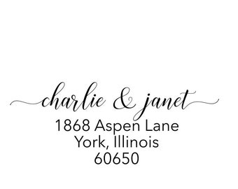 Custom Address Stamp, Return Address Stamp, Personalized Address Stamp, Self Ink Address Stamp, Calligraphy Waves, Wood Handle Stamp #20559