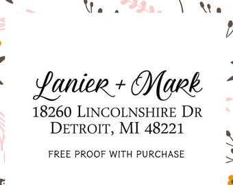 Address Stamp, Return Address Stamp, Custom Address Stamp, Personalized Stamp, Self inking Stamp, Wedding Stamp, Calligraphy Stamp 20566