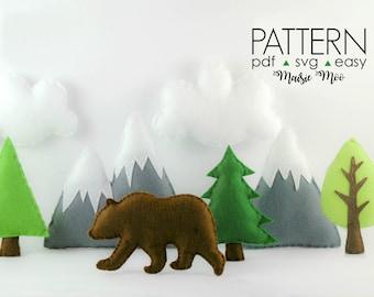 Mountain Baby Mobile  Adventure Mountain Nursery Mobile Pattern  Felt Baby Mobile Pattern  Grizzly Bear Nursery Mobile  Bear Mountain SVG