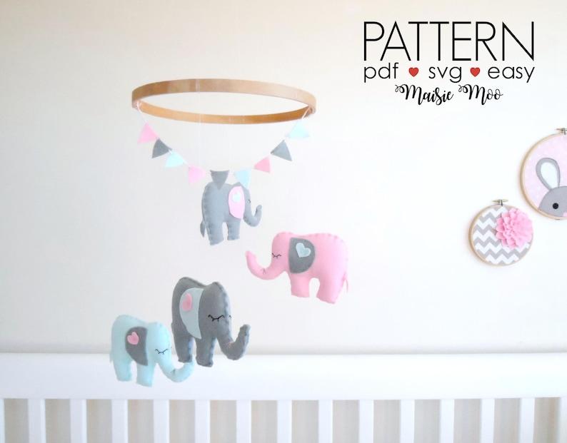Elephant Nursery Mobile Pattern Diy Felt Baby Mobile Pattern Etsy