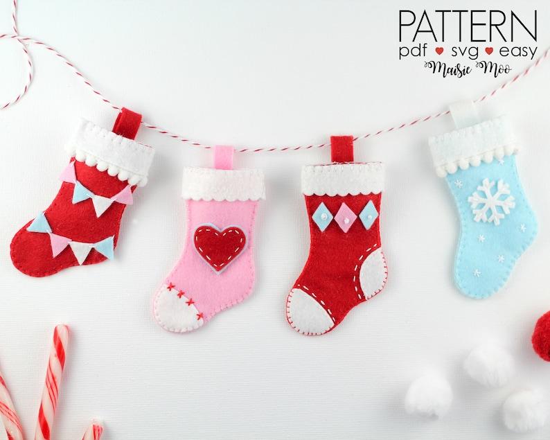 Felt Christmas Ornaments Pattern Christmas Stocking Ornament Pattern Felt Advent Calendar Pattern