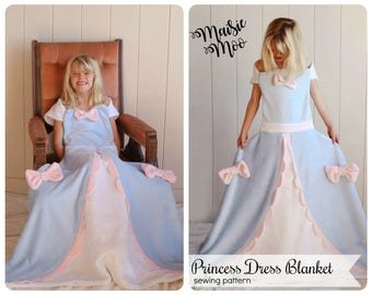 Princess Dress Blanket Pattern Fleece Blanket Cinderella Dress Princess Blanket Disney Blanket Pattern  Princess Pattern