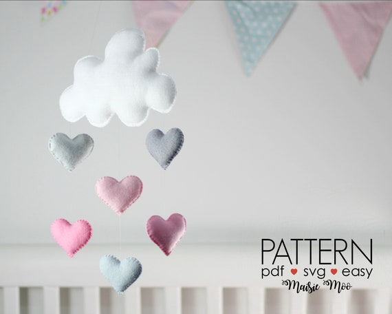 DIY Cloud With Heart Raindrop crib Mobile