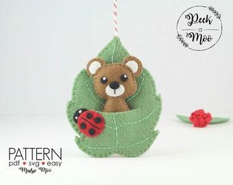 Felt Bear Pattern DIY Bear Lovers Gift Felt Bear Pattern Pocket Leaf Pattern Bear Ornament Leaf Ornament Pattern Bear Felt Pattern