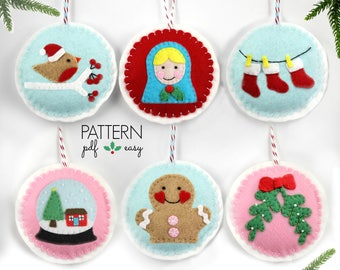 Ornament Pattern  Felt Christmas Ornament Pattern  Christmas Decoration Pattern  Robin  Snowglobe  Mistletoe  Gingerbread Man