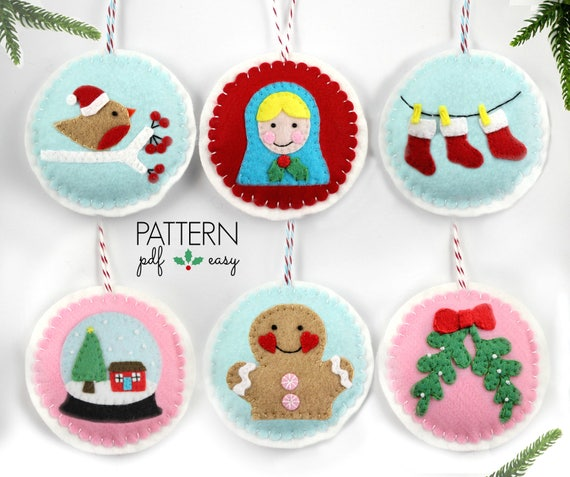 image 0 - Felt Christmas Ornaments Pattern Set Felt Ornaments Snow Etsy