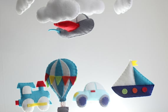 DIY car, train, airplane, hot air balloon, crib mobile