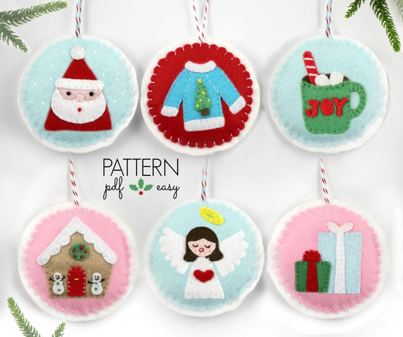 Pdf Pattern Christmas Tree Ornament Felt Pattern Felt Ornament Pattern Santa Cocoa Ugly Christmas Sweater Diy Christmas Ornament