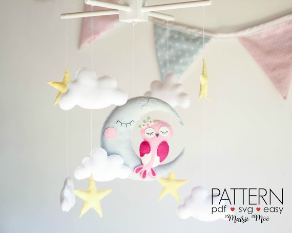 felt owls PDF sewing pattern felt softies owl ornaments easy sewing project DIY baby crib mobile Totem owls mobile