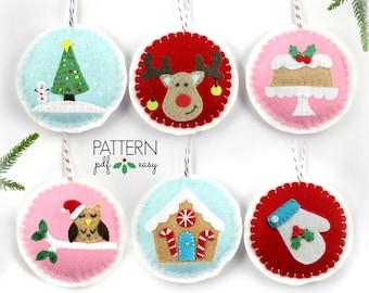 Christmas Ornament Pattern, Felt Christmas Ornament, DIY Christmas. Christmas Decoration Pattern, Christmas Ornament Set