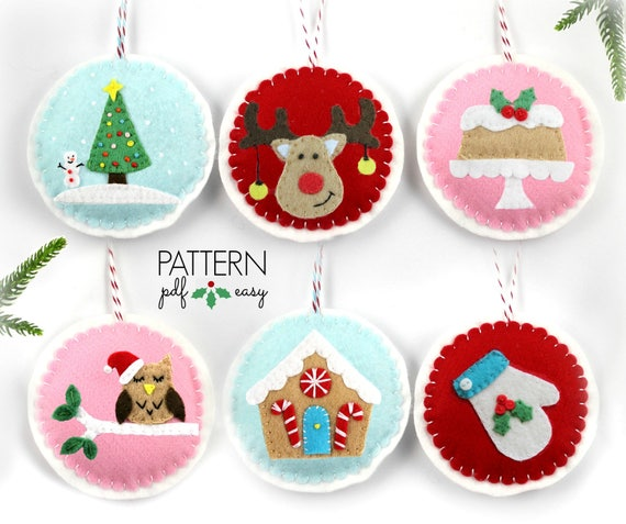image 0 - Christmas Ornaments Pattern Felt Ornament DIY Christmas. Etsy