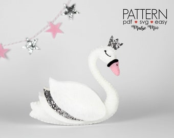 Felt Swan Pattern Swan SVG Swan Wedding Swan Baby Shower Swan PDF Pattern Swan Mobile Swan Cake Topper Swan Ornament Swan Sewing Pattern