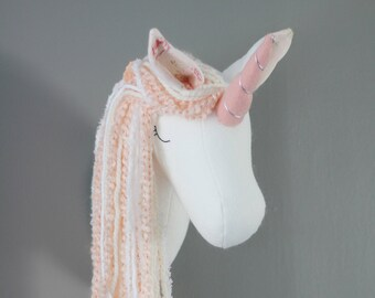 Unicorn Faux Taxidermy wall decor peach pastel horse head room nursery gold coral pony art