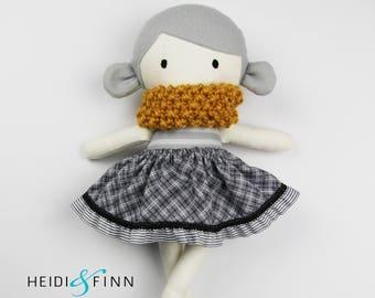 LIMITED EDITION Mini Pals soft rag doll keepsake gift OOAK ready to ship Grey gray mustard