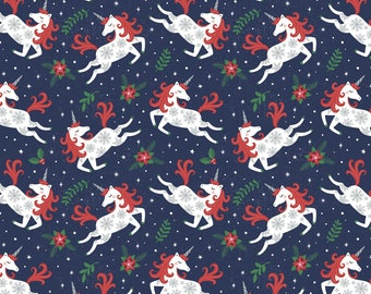 Christmas Unicorns -  It's Always Unicorn Season navy cotton fabric from Camelot Fabrics by the yard feelin fruity lemon citrus summer