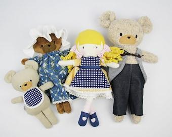 SAMPLE SALE handmade stuffed doll goldilocks three bears Mini Pals soft rag doll keepsake gift fairytale goldi ready to ship blond curls