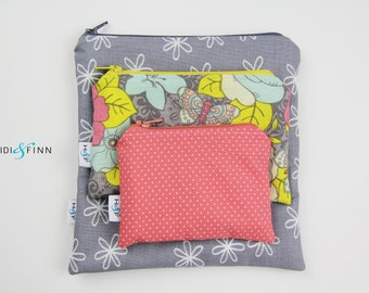 Reusable snack bag sets baggies eco friendly lunch bags toy bags storage grey coral flower dot yellow vintage