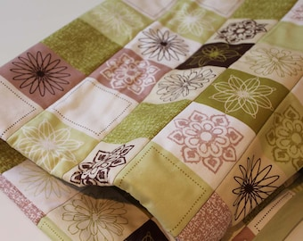 SALE Oversized baby quilt, blanket  modern green brown patchwork baby bedding ready to ship organic