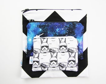 Reusable snack bag sets baggies eco friendly lunch bags toy bags storage star wars galaxy storm trooper black white chevron stars