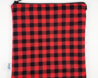 Reusable snack bag  baggies eco friendly lunch bags toy bags food storage Buffalo plaid red black canada canadian plaid lumberjack