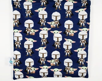 Reusable snack bag  baggies eco friendly lunch bags toy bags food storage star wars mandolorian yoda navy the child mando