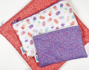 Reusable snack bag sets baggies eco friendly lunch bags toy bags food storage bag Sprinkles ice cream purple pink coral popsicle