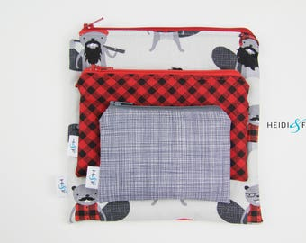 Reusable snack bag sets baggies eco friendly lunch bags toy bags storage beaver plaid canada red white lumberjack