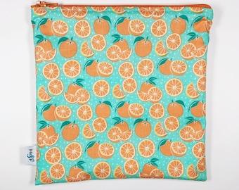Reusable snack bag  baggies eco friendly lunch bags toy bags food storage oranges fruit citrus lemons teal turquoise leaves green orange