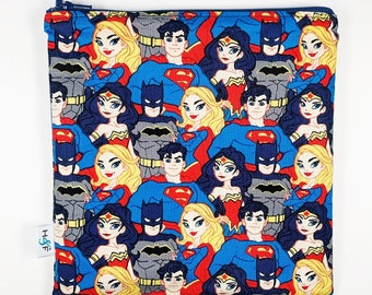 Reusable snack bag  baggies eco friendly lunch bags toy bags food storage Young Justice league stacked batman wonder woman superman
