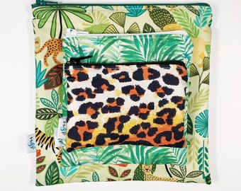 Reusable snack bag sets baggies eco friendly lunch bags toy bags food storage bag Jungle palm leaves tiger lion cheetah animal print