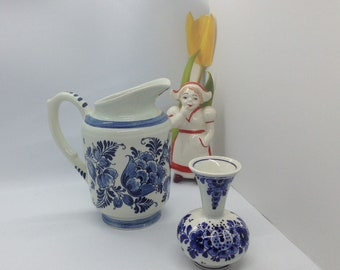 Delfts holland handpainted miniature porcelain cow Milk pot and plant watering can