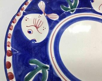 Plate Porcelain Cobalt Blue Peacock ORO ZECCHINO Italy